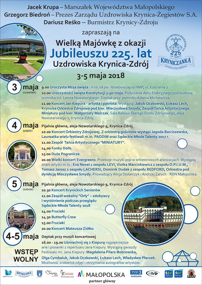 Wielka Majówka z okazji Jubileuszu 225. lat Uzdrowiska Krynica-Zdrój