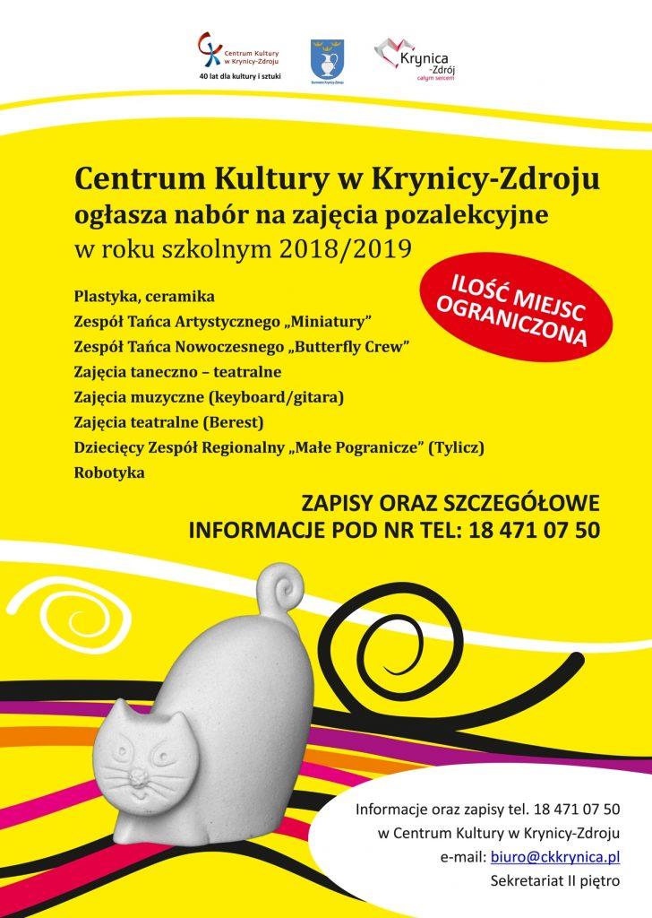 Centrum Kultury w Krynicy-Zdroju – Nabór na zajęcia pozalekcyjne