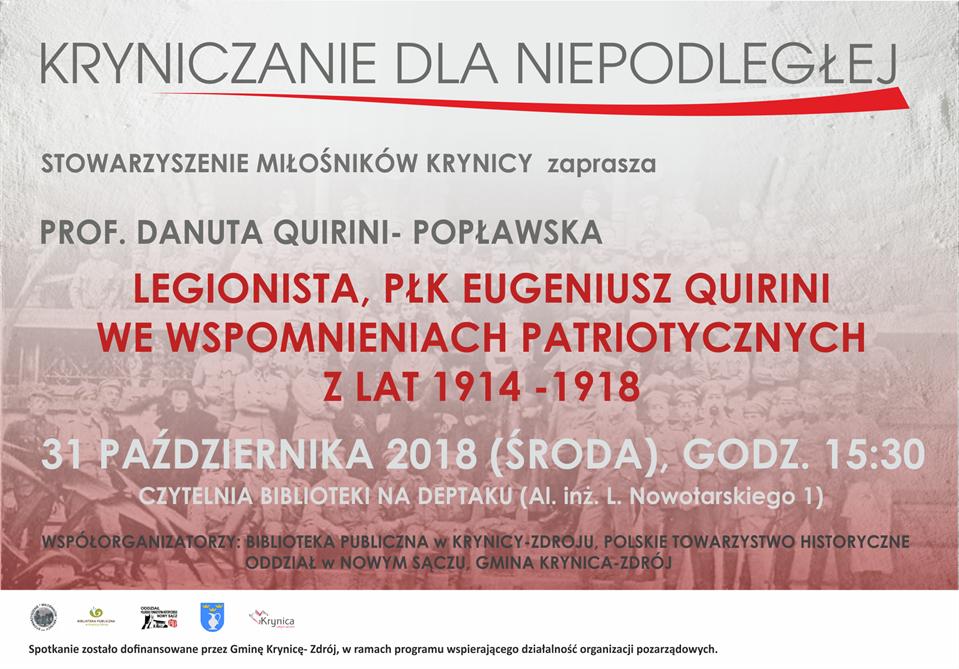 Spotkanie  – Legionista płk Eugeniusz Quirini we wspomnieniach patriotycznych