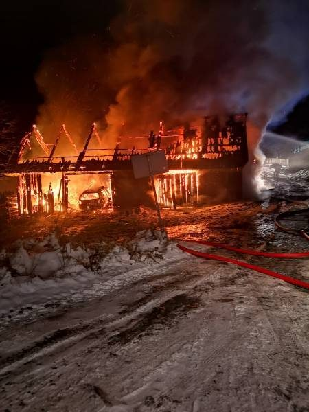 Pożar budynku gospodarczego w Piwnicznej Zdrój - Zdjęcie OSP Piwniczna Zdrój