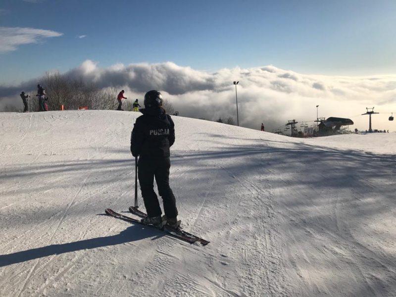 Policjanci na stokach narciarskich - fot. KMP Nowy Sącz