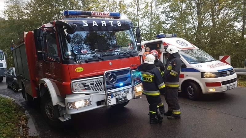 Żegiestów: Trzy osoby poszkodowane w winku zderzenia dwóch samochodów