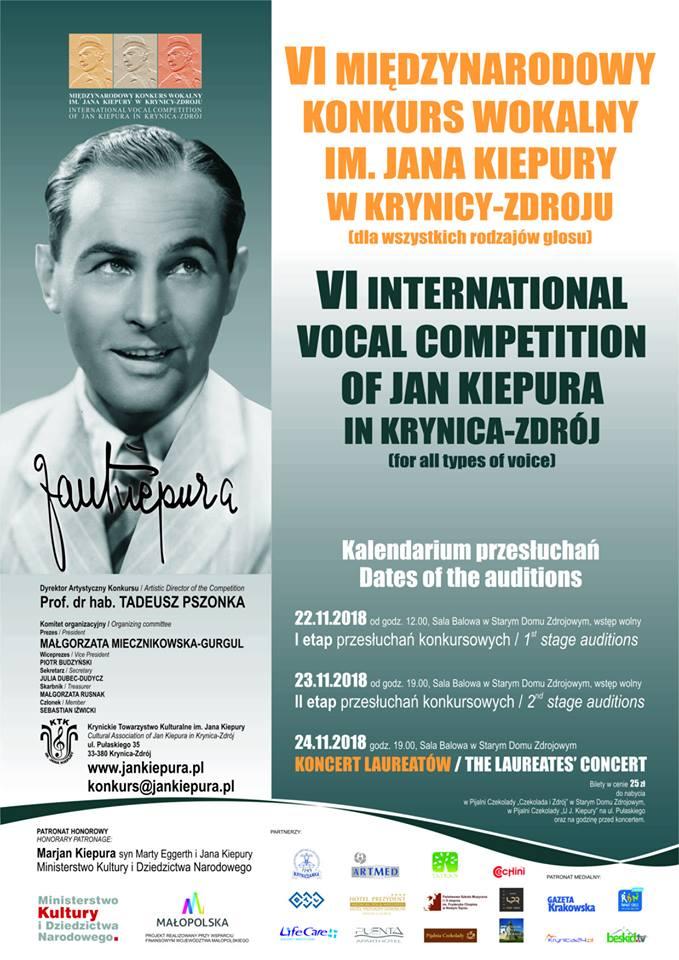 VI Międzynarodowy Konkurs Wokalny im. Jana Kiepury w Krynicy-Zdroju