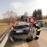 Śmiertelny wypadek drogowy w Tyliczu - foto. KMPSP Nowy Sącz