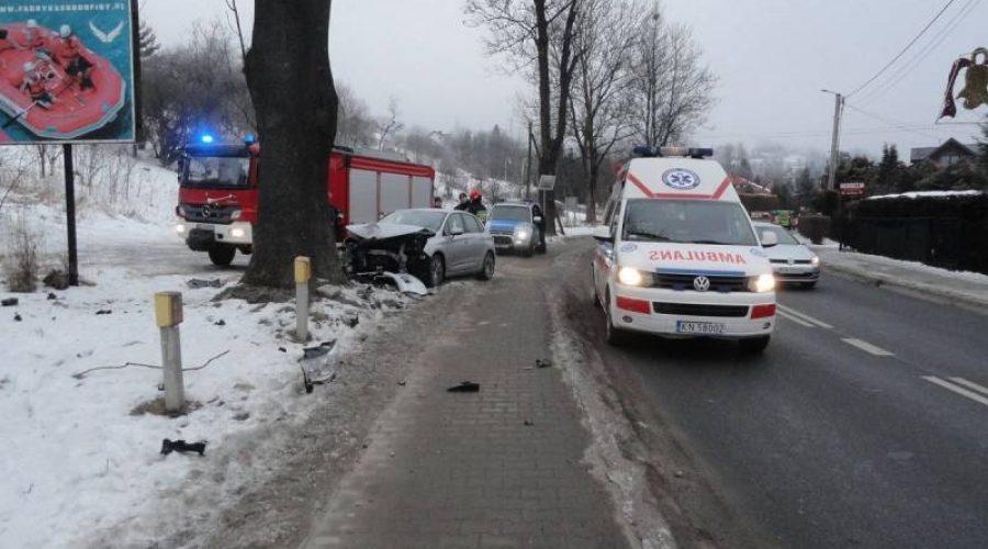 Krynica-Zdrój. Na ul. Kraszewskiego samochód osobowy wypadł z drogi