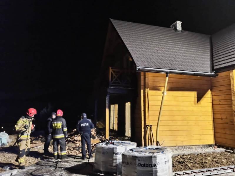 Krynica-Zdrój. Pożar budynku w trakcie budowy