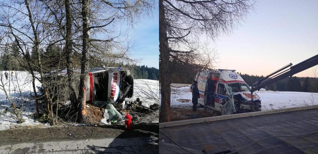 Wypadek karetki w Czyrnej. W akcji uczestniczył śmigłowiec LPR