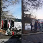 Wypadek karetki Pogotowia Ratunkowego w Czyrnej – fot. KM PSP Nowy Sącz