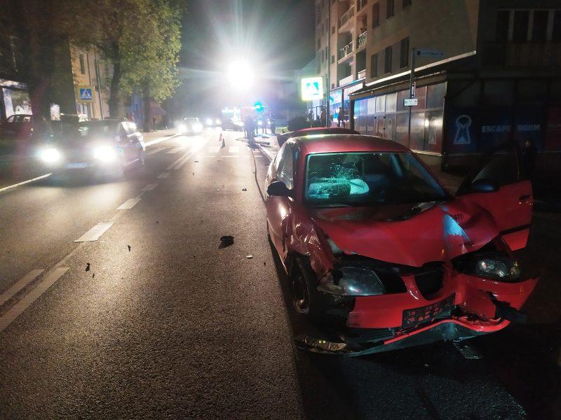 Kolizja samochodów osobowych, ul. Kraszewskiego w Krynicy - fot. KM PSP Nowy Sącz