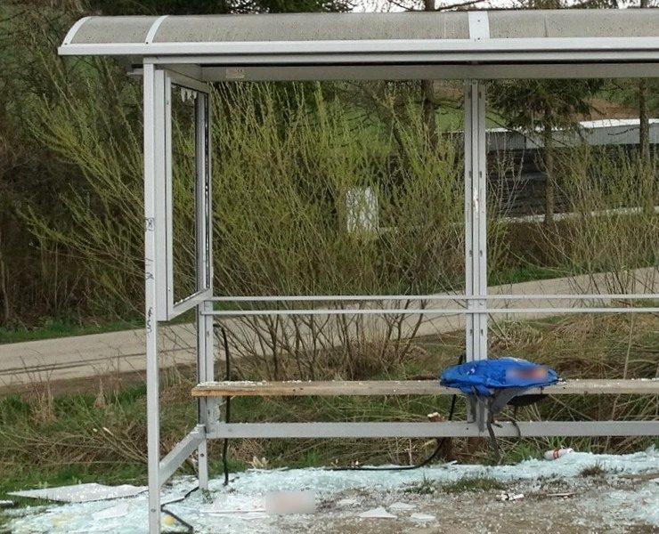 Uszkodzona wiata przystanku - fot. KMP Nowy Sącz